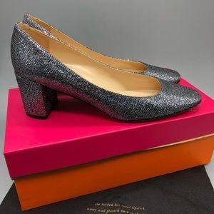Kate Spade Desiree metallic silver block heels